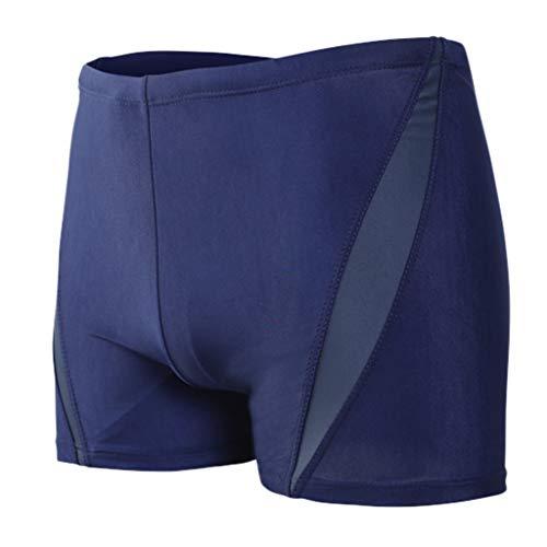 (Tomppy Men's Swim Trunks Color Block Breathable Built-in Beam Line Boxer Briefs Bathing Suits Sportwear Beach Surf Shorts Gray)
