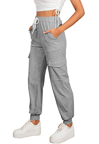ZESICA Women's Casual Elastic Waist Drawstring Track Cuff Athletic Workout Jogger Sweatpant with Pockets