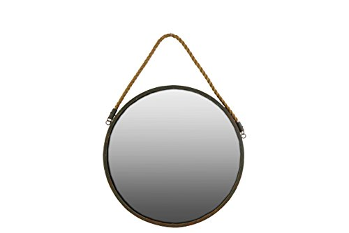Urban Trends Metal Round Wall Mirror with Rope, Brown
