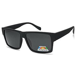 Square Flat Top Black Frame Polarized Sunglasses Casual Dark Lens Designer Inspired Glasses (Soft Black)