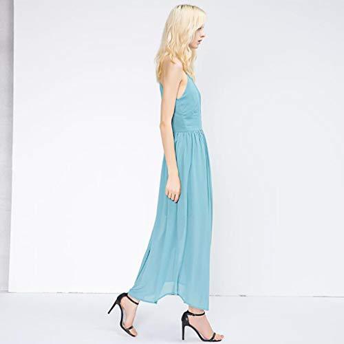 Chaleco Vestido Suelta Largo Swing Sin Mangas Mujeres Blue Cuello Grande Falda qUEFEC