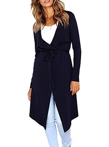 (PRETTYGARDEN Women's Long Sleeve Drape Front Soft High Low Asymmetrical Irregular Hem Knit Cardigan Coat with Belt (Navy,)