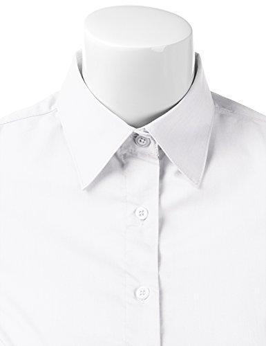 Doublju Womens Slim Fit Business Casual Long Sleeve Button Down Dress Shirt White Medium by Doublju (Image #4)