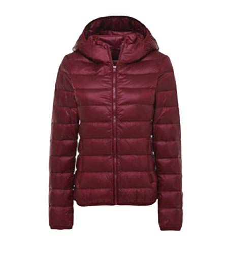 Vino Rkbaoye Rosso Curvy Down Solid Womens Packable Leggero Zipper Hooded Jacket Br7zvB6qa