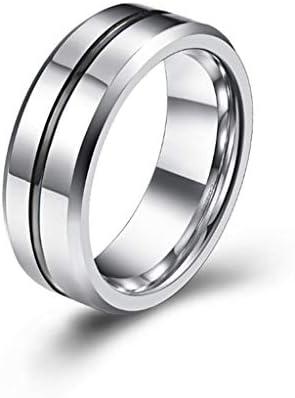 男性と女性の十代の女の子のための8MMメンズウェディングリング・ハードタングステン鋼合金の婚約指輪快適ベベルエッジ、ギフト (Color : Black, Size : #11)