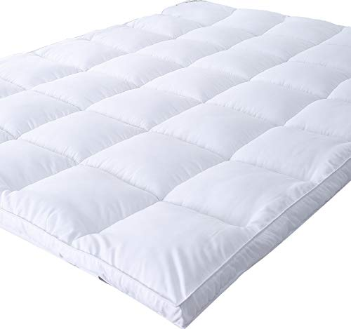 Full Wool Mattress Pad - Naluka Mattress Topper Full Size, Down Alternative - Microplush Mattress Pad for All Seasons Quilted Stretch Pillow Top 2 Inch Thick (54''x75'')