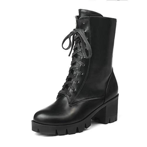 Redonda Botas Invierno De Pu Mujer Tamaño 34 43 Grande Punta Tacón Plataforma Zapatos Cuero Hoesczs Black Alto Cuadrados Botines 2019 7qpPfP