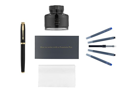 - Parker IM Fountain Pen Kit, Black Lacquer with Gold Trim, Ink Bottle Refill, Ink Cartridge Refills, Ink Bottle Converter