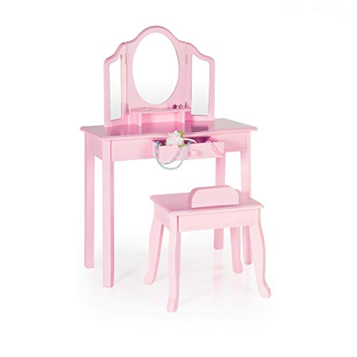 Guidecraft Vanity and Stool - Pink: Kids' Wooden Table and Chair Set with 3 Mirrors and Make-Up Drawer Storage for Toddlers - Children's Furniture