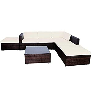 Evre Rattan Outdoor Garden Furniture Set Nevada 6 Seater Sofa with Coffee Table (Brown)