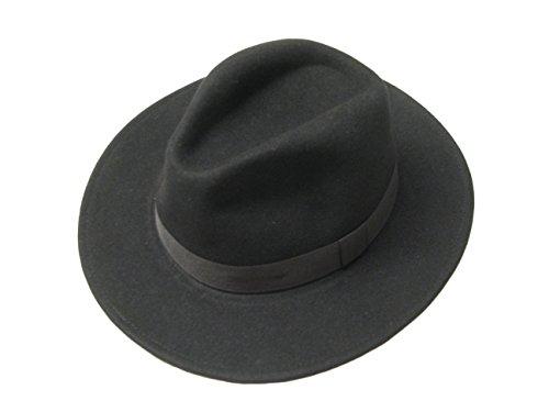 Large bord Noir unisexe en laine de Cowboy en feutre Fedora Chapeau Trilby Indiana Jones Style