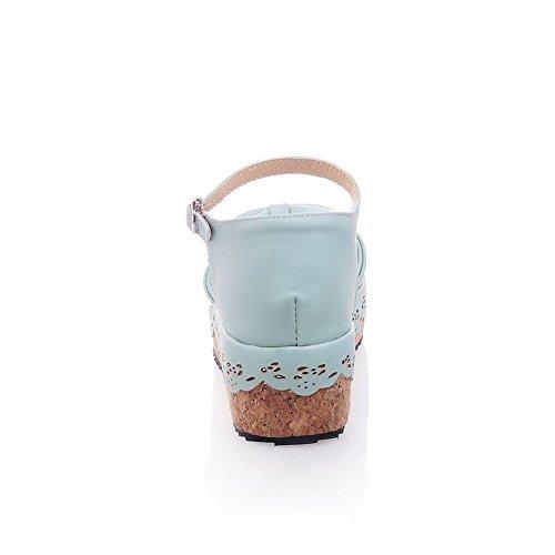 Amoonyfashion Da Donna Tacco A Spillo Con Fibbia In Materiale Morbido Sandali A Punta Aperta Blu