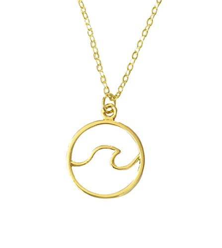 Altitude Boutique Ocean Wave Inspired Necklace Circle Surfing Hawaii Sea Beach Jewelry Silver Gold (Gold) ()