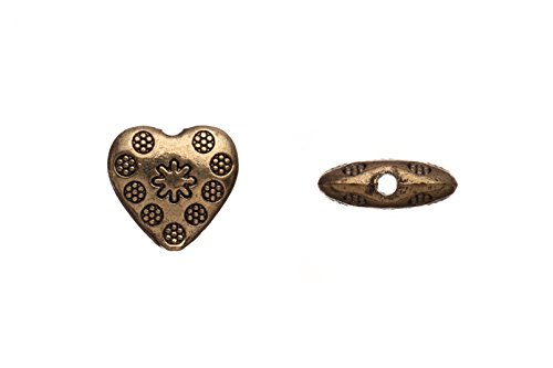 Pewter Beads, Antique-Brass-Plated, Double-Sided Puff Heart sold per 10pcs/pack (3pack bundle), SAVE $2