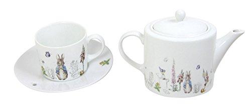 BEATRIX POTTER PETER RABBIT BLUE GREY WHITE PORCELAIN TEA CUPS SAUCERS & TEA POT