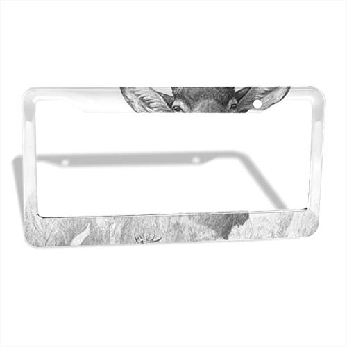 NELife License Plate Frame Set of 2 Whitetail Deer Alumina Car Licenses Plate Covers License Tag 2 Holes Licenses Plates Frames for Women/Men -Easy Install and Clean