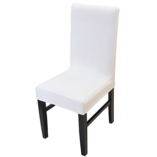 Knit Spandex Fabric Stretch Dining Room Chair Slipcovers Set of 4 White