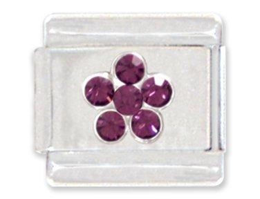 Purple Rhinestone Flower Italian Charm Bracelet Link