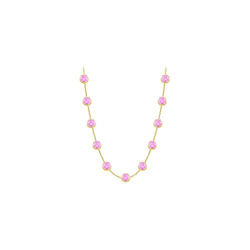 Created Pink Sapphires Necklace on 14K Yellow Gold Bezel Set 2.00 ct.tw ()