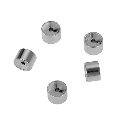 Shengyaju 10PCS Stainless Steel Silver Tone Cylinder Beads Design with Crystal Findings 5mmx3.5m