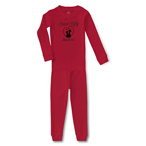 Personalized Custom Good Kitty Cotton Crewneck Boys-Girls Infant Long Sleeve Sleepwear Pajama 2 Pcs Set Top and Pant - Red, 24 Months -