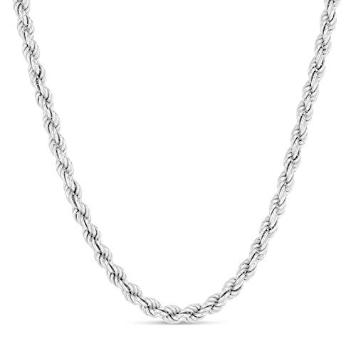 (Verona Jewelers Sterling Silver 4MM Italian Diamond-Cut Rope Chain Necklace for Men - 925 Braided Twist Italian Necklace,)