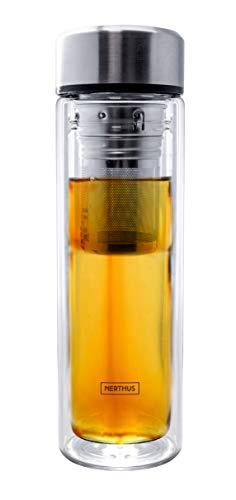Nerthus FIH 664 Filtro 350 ml, Aislante Gracias a su Doble Pared, Botella infusor, Termo, Taza de Viaje, Tetera de Cristal, 0 35 litros