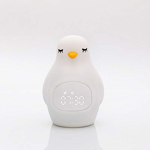 QYCL Digital Alarm Clock, Creative Led Alarm Clock with Penguin Silicone Pat Light Multi-Function USB Charging with Small Night Light Student Snooze Alarm - Pat Penguin