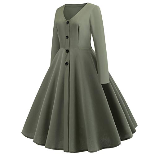 TRENDINAO Vintage Swing Dress,Pleated Button V-Neck Long Sleeve Solid Women Fashion Slim Party Dresses Green
