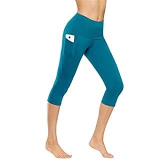 Kyopp High Waist Yoga Pants Tummy Control Workout Running 4 Way Stretch Yoga Leggings Women Capris Pants (Blue/Green, XS)