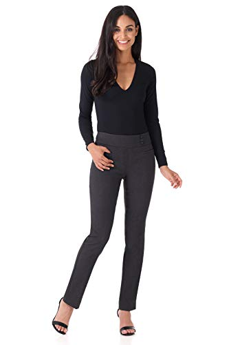 Rekucci Women's Ease Into Comfort Everyday Chic Straight Pant w/Tummy Control (12,DK -