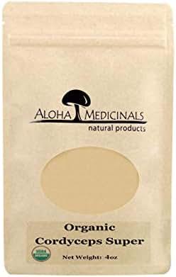 Aloha Medicinals - Pure Cordyceps Super Extract - Certified Organic Mushrooms – Cordyceps Militaris – Cordyceps Sinensis - Supports Immunity, Energy and Stamina – 4oz Bag (Powder)