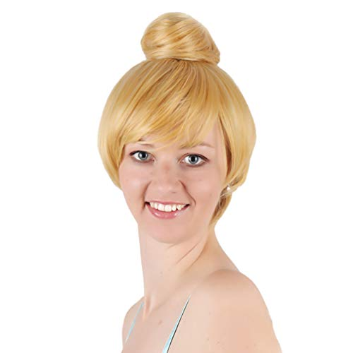 Short Bob Cosplay Costume Wigs Bun Updo Blonde Anime No Lace Heat Resistant Synthetic Fiber Halloween Party Carnival New Fashion Natural as Real Stage Show Performance Fancy Dress