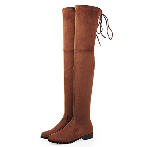 Thigh High Boots Female Women Over The Knee Boots Flat Square Mid Heel High Heels Lace up Stretch Slim Botas Suede 12,Brown 1,3