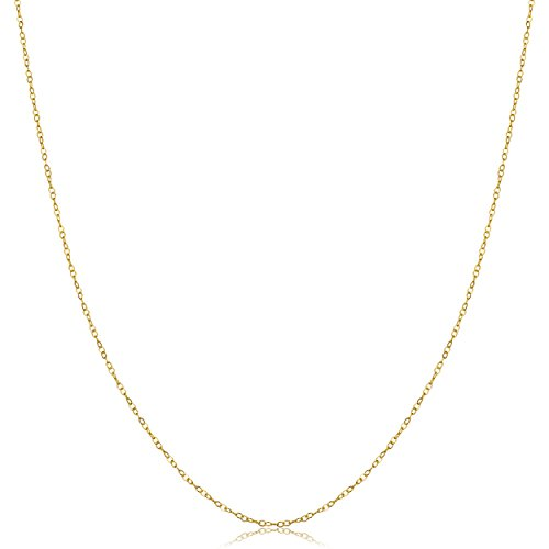 Solid 14k Yellow Gold Thin Round Cable Chain Necklace (0.7mm, 16 inch) 14k Yellow Gold Thin