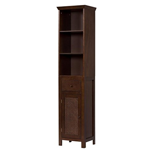 Cane Linen Tower Bathroom Cabinet with three shelves, Brown