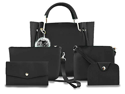 Fargo PU Leather Latest Handbags For Women's Ladies Combo Of 5 (Black_Ring5_FGO-254)