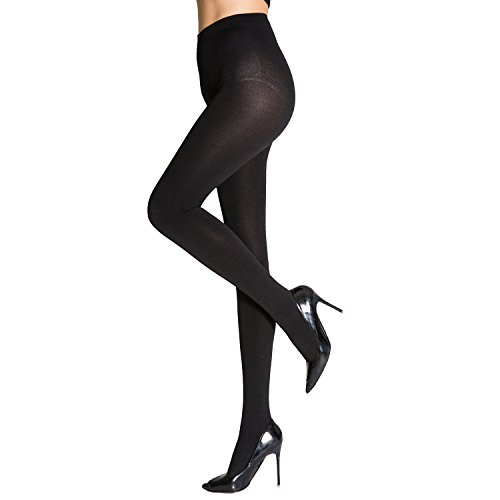 MANZI Women's 2 Pairs Super Opaque with Fleece Soft Black Tights 400 Denier - http://coolthings.us