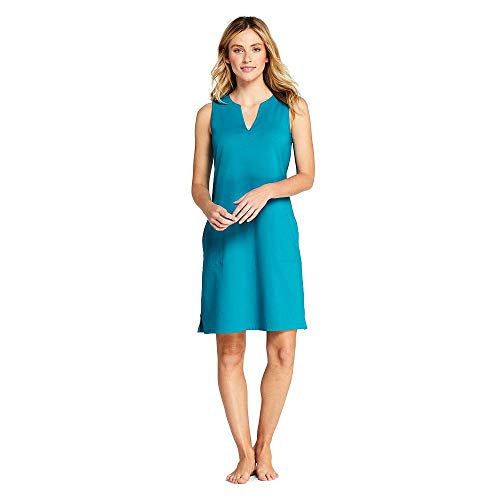 fc0be22503 Lands  End Women s Cotton Jersey Sleeveless Tunic Dress Swim Cover ...