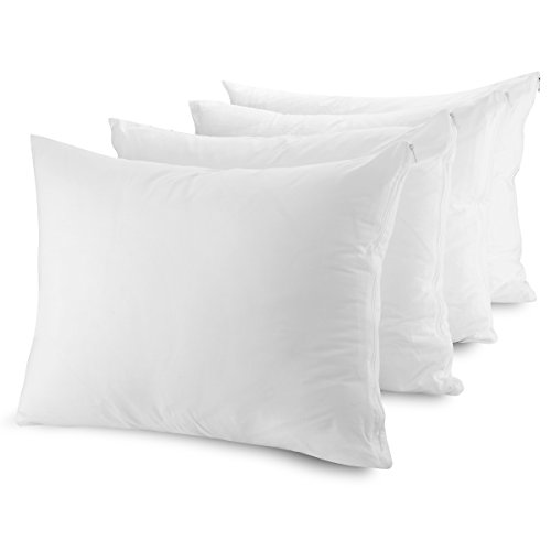 Mastertex Zippered Pillow Protectors Hypoallergenic Poly Cotton Breathable Pillow Covers (4 Pack) Soft and Quiet Pillow Encasement Dust Mite Control (Set of 4 - Standard - White) ()