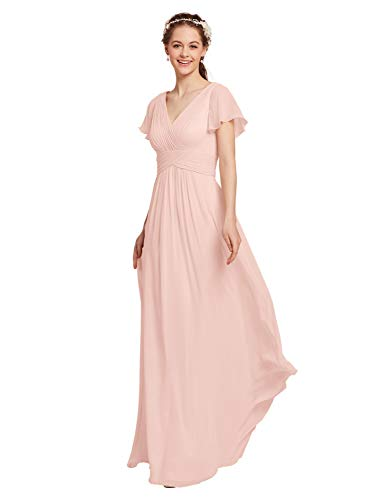Pearl V-neck - AW Chiffon Bridesmaid Dress with Sleeves V-Neck Wedding Maxi Evening Party Dress Long Plus Size Prom Gowns, Pearl Pink, US26