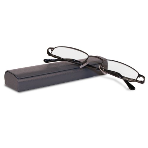 Classic Spring Hinged Reading Glasses with Leather Case (Gray + - Glasses Lenses Reading With Real Glass
