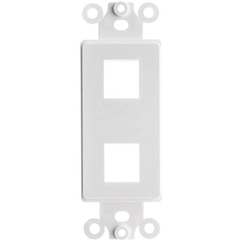 GOWOS Decora Wall Plate Insert, White, 2 Hole for Keystone Jack - Inline UTP LAN Modular Patch Stand Punch Down Panel