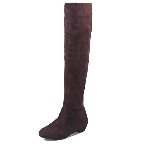 Brezeh High Knee Boots, Women Winter Autumn Flat Heel Boots Shoes Short Long Biker Boots Brown