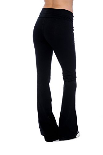 Black Plus Size Clothes Effect Woman Fold-Over Waist Flared Legs Yoga Pants