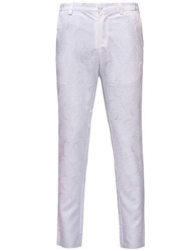 ZEROYAA Mens Hipster White Rose Jacquard Flat Front Dress Suit Pant for Wedding Prom Tuxedo ZZP01-White ()