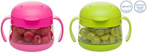 Ubbi cute BPA-free twin pack tweat snack container with attached lid and soft spill-proof guard, Pink/Green