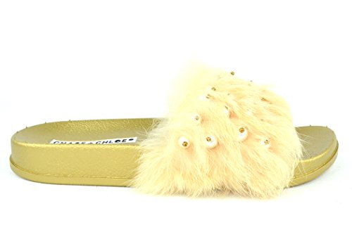 Chase & Chloe Furry-5 Mode Flip Flop Lägenhet Med Pärlor På Furry Guld