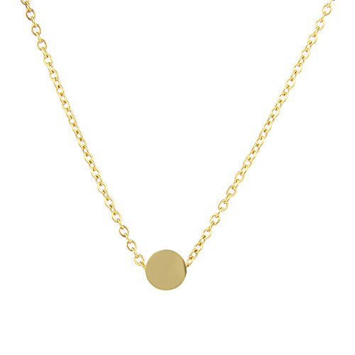 LUREME Stainless Steel Tiny Dot Necklace Ball Pendant Collar Necklace-Gold (nl005625-2)