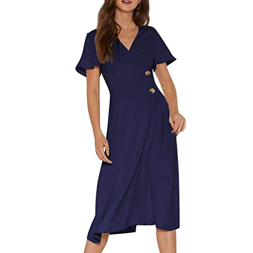 Women Vintage V Neck Short Sleeve Plain Swing Midi Dress Casual Cross Wrap Button Party Work Dresses for Women Under 40(Navy,L)]()